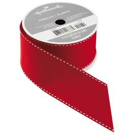 Red With White Top Stitch Ribbon, 6 yds., , large