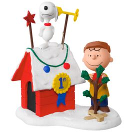 PEANUTS® Charlie Brown and Snoopy Decked-Out Doghouse Sound Ornament With Light, , large