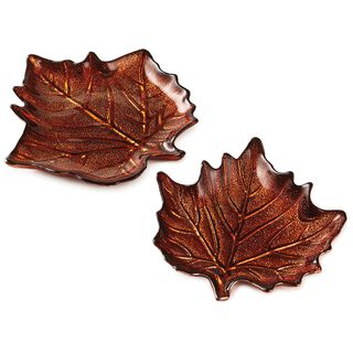 Autumn Leaf Glass Plates, Set of  2,