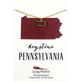 State of Pennsylvania Necklace in 14K Yellow Gold-Plate, , large