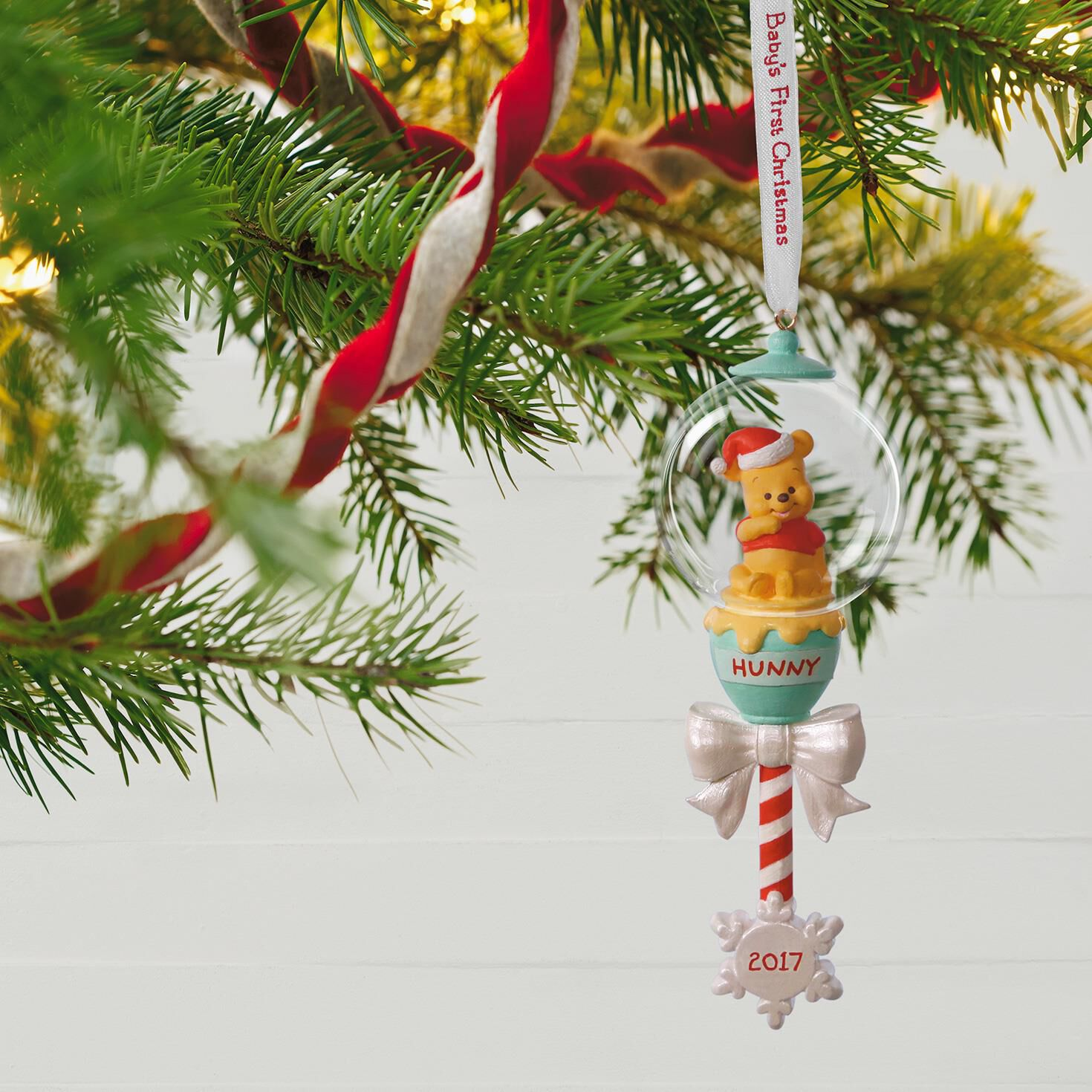 Disney Winnie the Pooh Baby's First Christmas Rattle Ornament ...