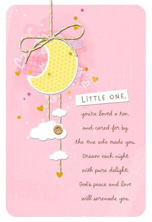 Moon With Hearts and Stars Baby Girl Christening Card