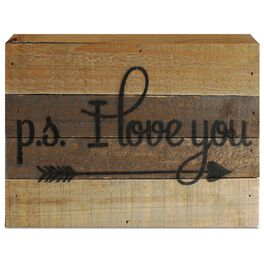 P.S. I Love You Wood Sign, 8x6, , large