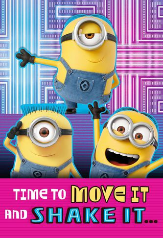 Despicable Me Minions Move It And Shake It Birthday Card Greeting