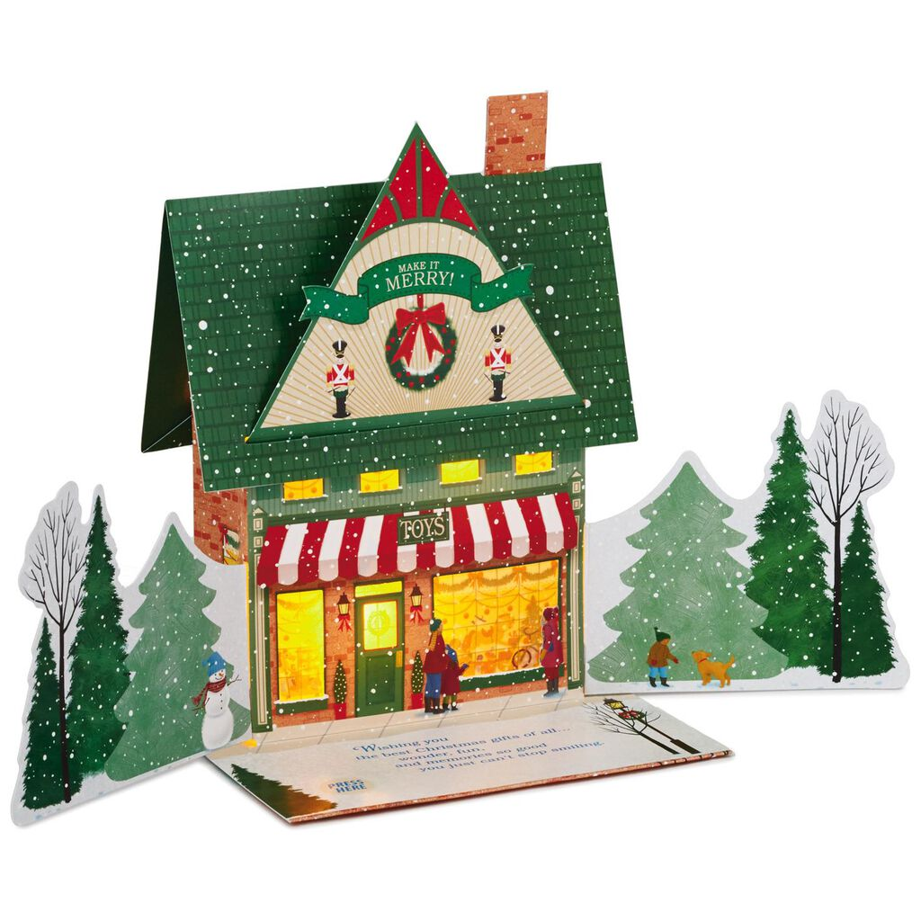 Toy Shop Pop Up Musical Christmas Card With Light Greeting Cards
