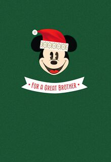 Mickey Mouse Always Welcome Christmas Card for Brother,