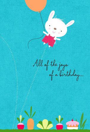 Bunny With Balloon Birthday Card