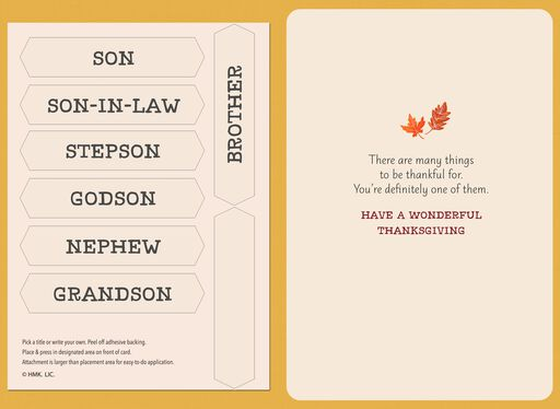 Autumn Leaves Pick-a-Title for Him Thanksgiving Card,