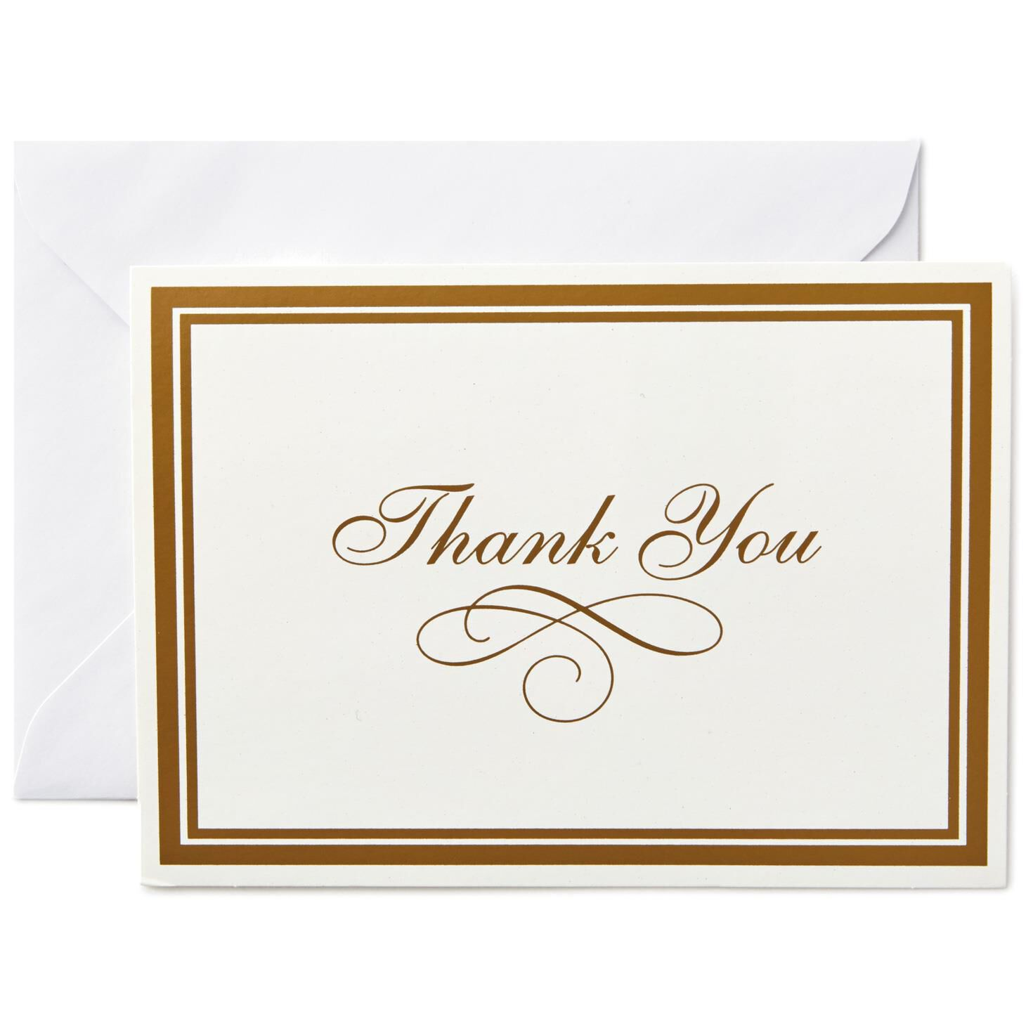 ... Gold Borders Thank You Notes, Box Of 25,