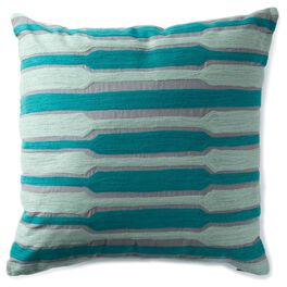 Teal Embroidery 20x20 Throw Pillow, , large