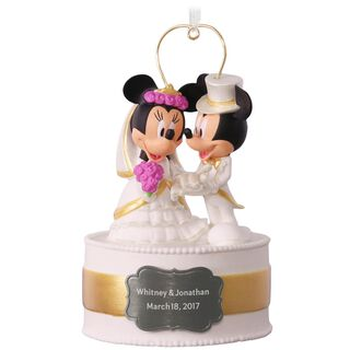 Disney Mickey and Minnie Personalized Wedding Cake Ornament,