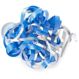 """Royal Blue and Iridescent Rainbow Curly Ribbon Gift Bow, 6.5"""", , large"""