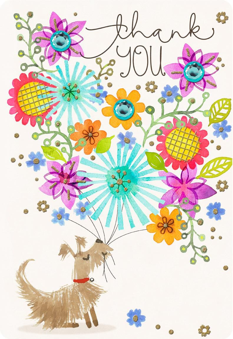 dog with flower bouquet jumbo thank you card  16 25