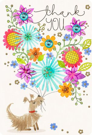 Dog With Flower Bouquet Jumbo Thank You Card, 16.25""