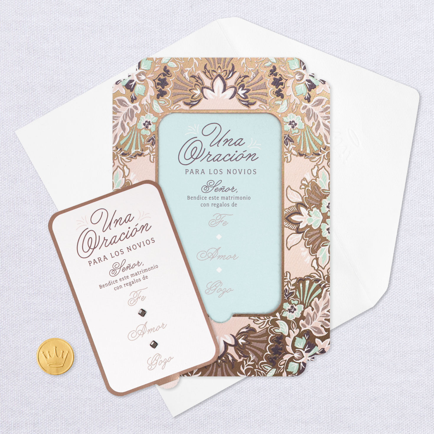 10 Wedding Place cards gold bell and hearts w// doves