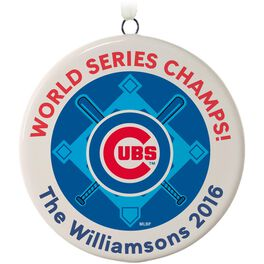 Chicago Cubs™ Ceramic Personalized Ornament, Circle, , large