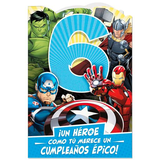 2d7222dd70d3 Marvel Avengers Spanish-Language 6th Birthday Card With Stickers