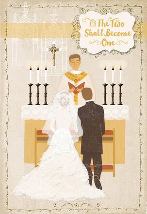 Two Become One Religious Wedding Card