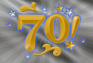 Vibrant Gold and Silver 70th Birthday Card