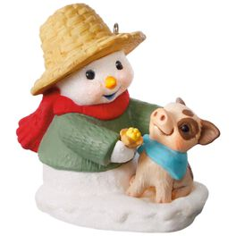 Snow Buddies Snowman and Pig Ornament, , large