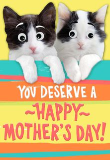 Cute Kittens With Googly Eyes Mother's Day Card,