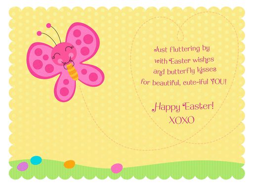 Pink Butterfly Easter Card for Great-Granddaughter,