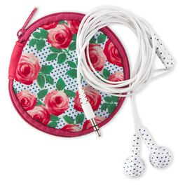 Pretty and Preppy Rose Earbuds With Case, , large