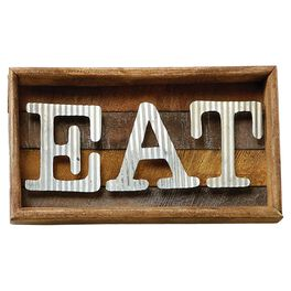 Mud Pie® Eat Corrugated Shadow Box Sign, , large