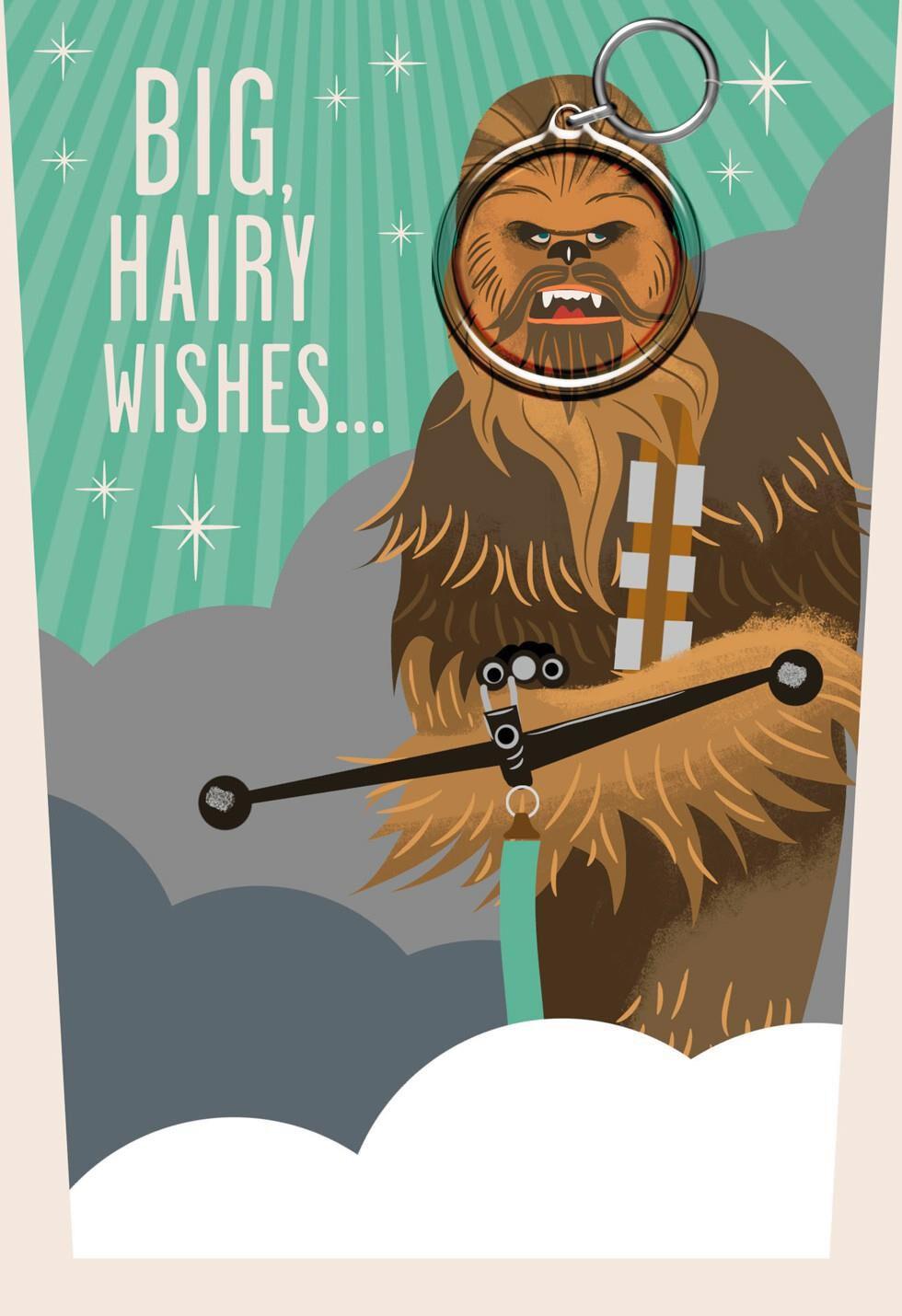 Star Wars Chewbacca Fathers Day Card With Keychain Greeting – Chewbacca Birthday Card