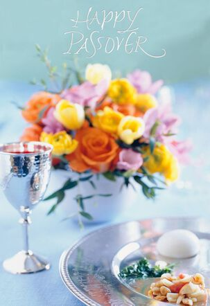 Seder Table With Flowers Passover Card
