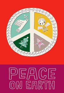 Peace Sign Christmas Card,