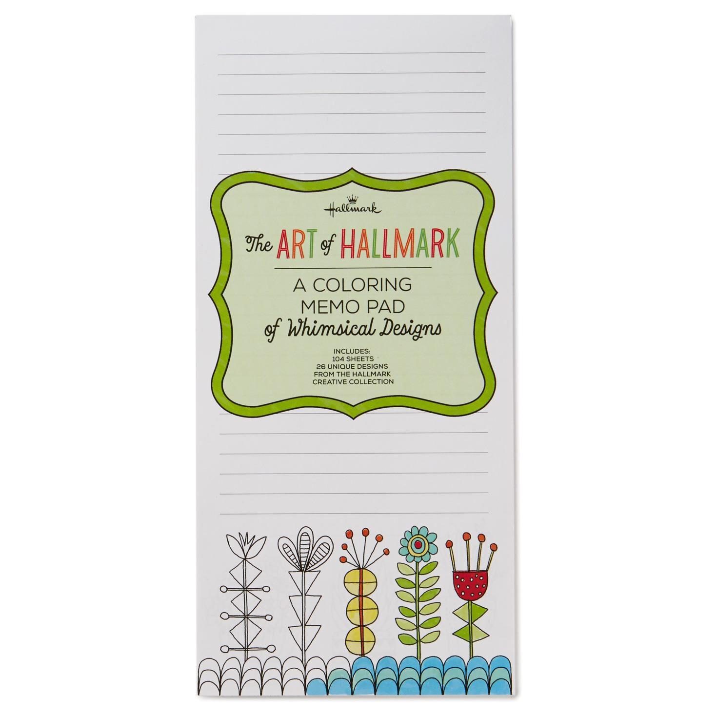 a coloring memo pad of whimsical designs memo pads hallmark