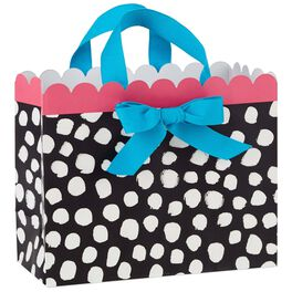 "White Dots on Black Medium Gift Bag, 10"", , large"