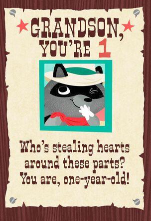 Raccoon Cowboy 1st Birthday Card for Grandson