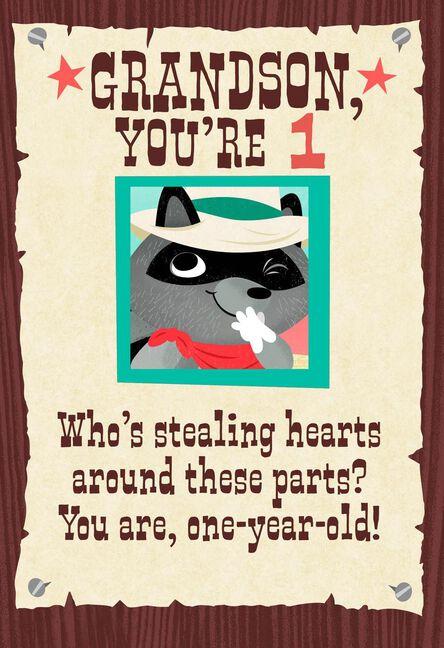 Raccoon Cowboy 1st Birthday Card For Grandson Greeting Cards