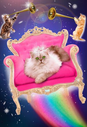 Queen Feline of the Universe Funny Cosmic Birthday Card
