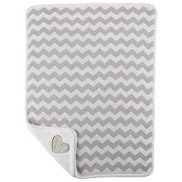 Gray Chevron Premium Sherpa Baby Blanket, , large