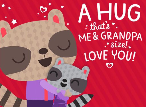 Surprise Hug Valentine's Day Card for Grandpa,