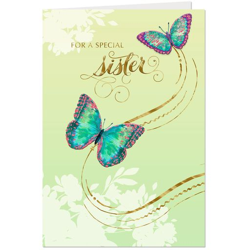 Two Butterflies Birthday Card For Sister