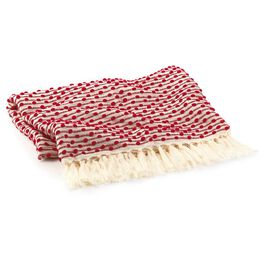 Holiday Decorative Throw Blanket Red With Cream Fringe, , large