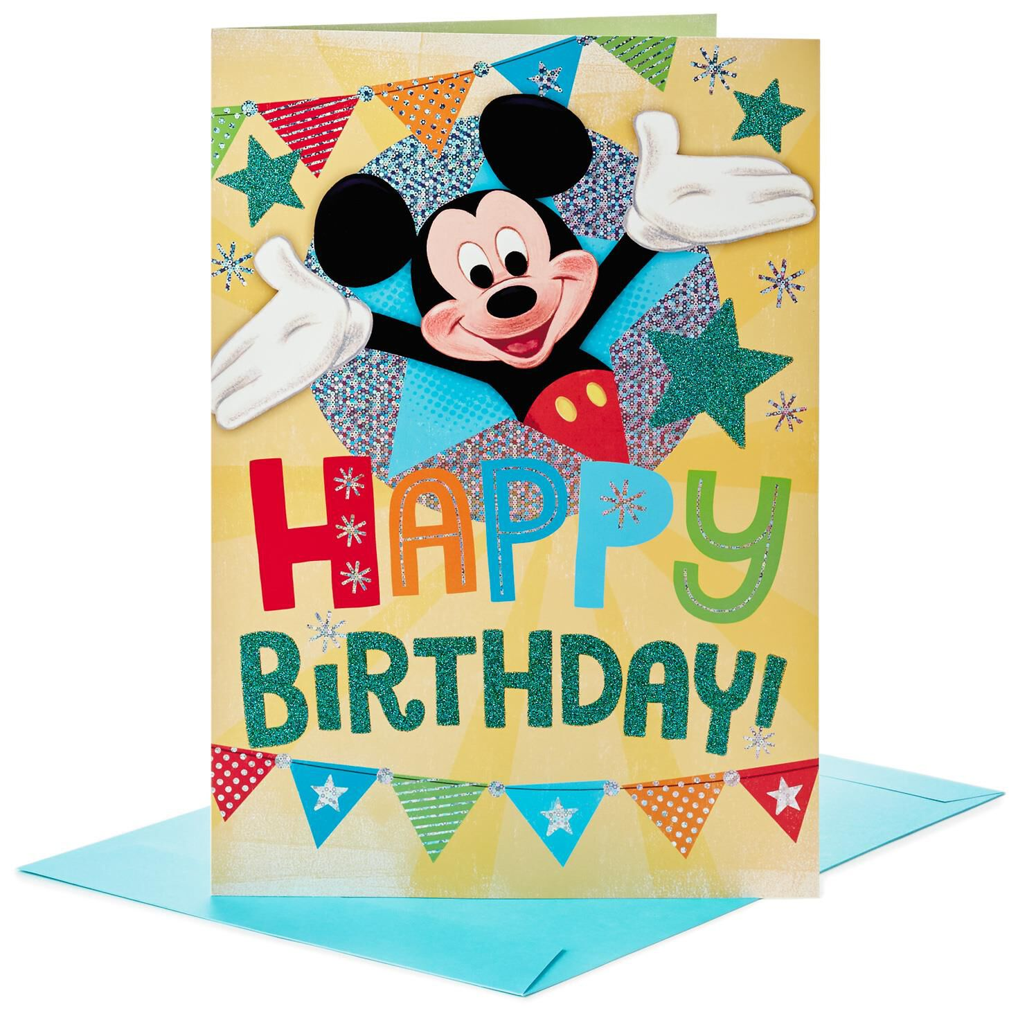 Mickey Mouse Pennant Jumbo Birthday Card 16 Greeting Cards – Oversized Birthday Cards