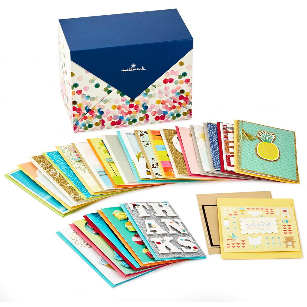 Assorted Everyday Cards Organized In Storage Box Box Of 24