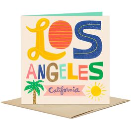 Los Angeles: Sun and Palm Tree Blank Card, , large