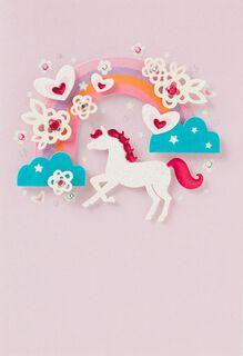 Rainbow Unicorn Birthday Card,