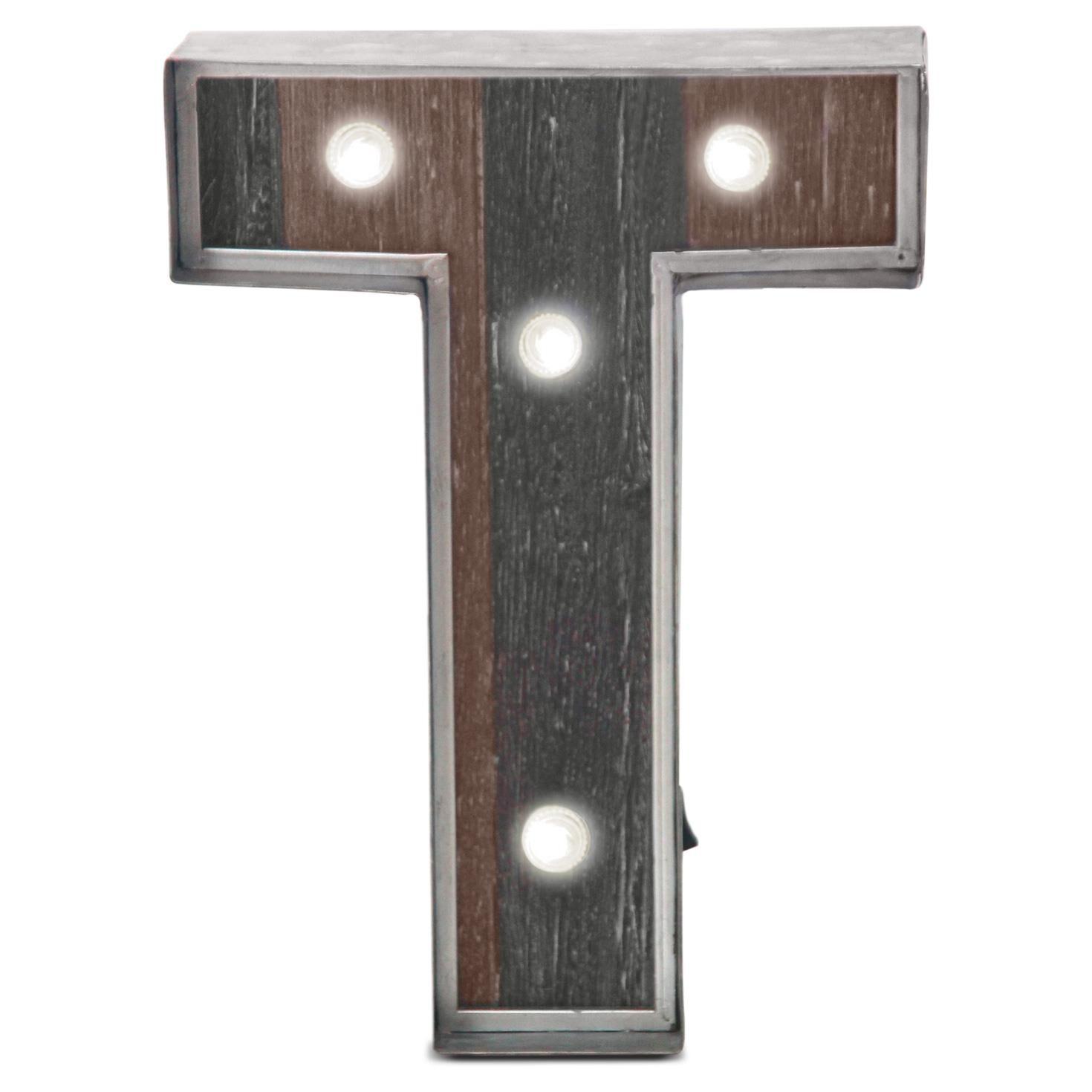 Metal Letter T Rustic Metal & Wood Monogram Lighted Letter T  Decorative