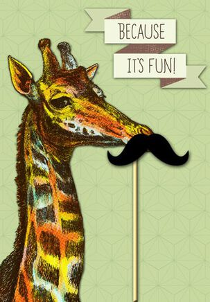 Giraffe with Moustache Birthday Card