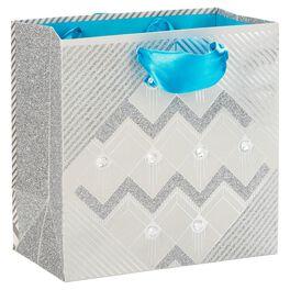 "Silver Glitz Medium Square Gift Bag, 7.75"", , large"