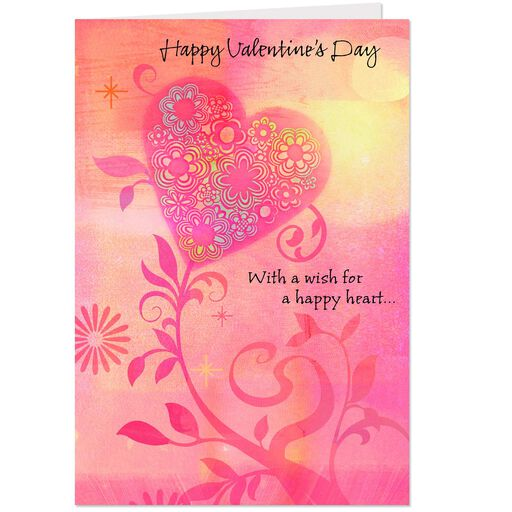 1aa8b928db3 Floral Happy Heart Valentine s Day Cards