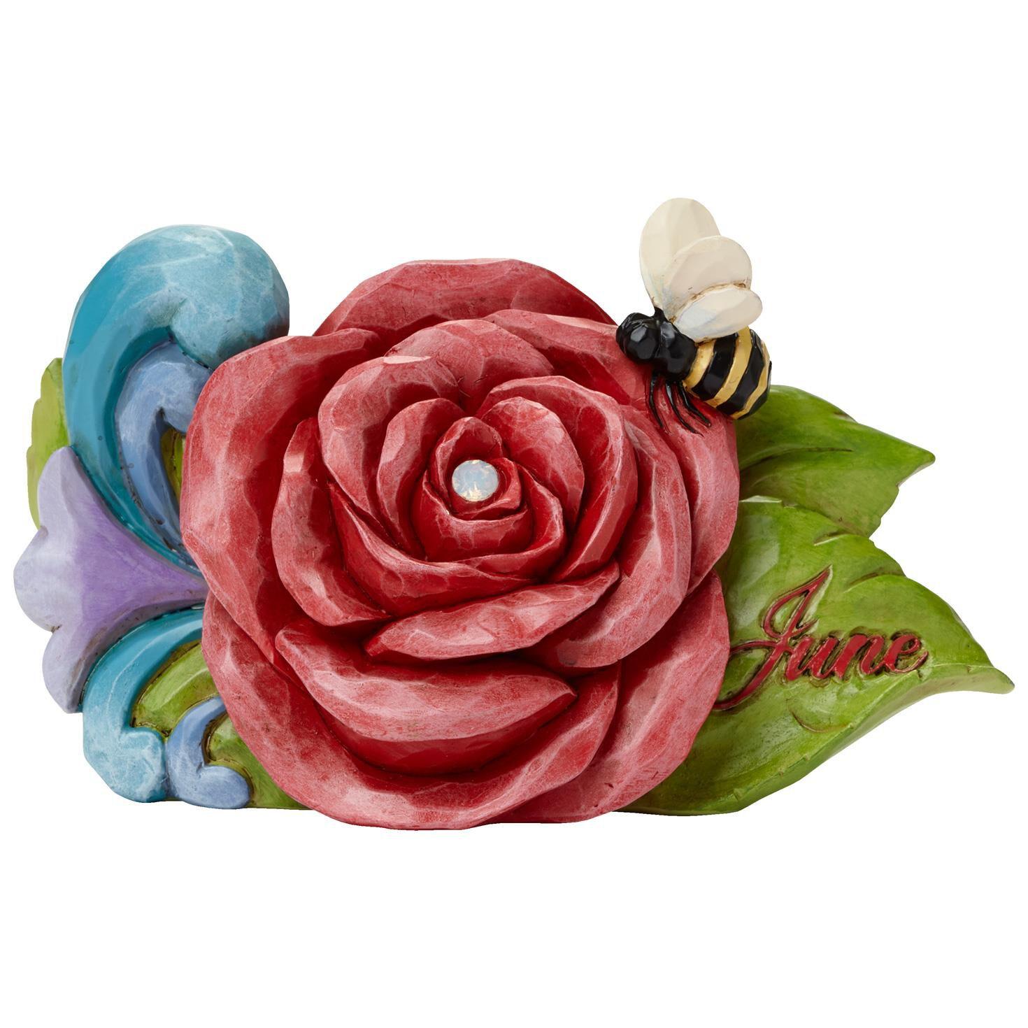 Jim Shore June Alexandrite Birthstone and Rose Flower Figurine Figurines