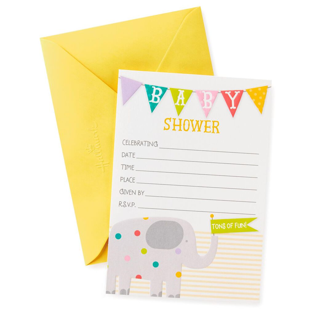 Elephant Baby Shower Invitations, Pack of 20